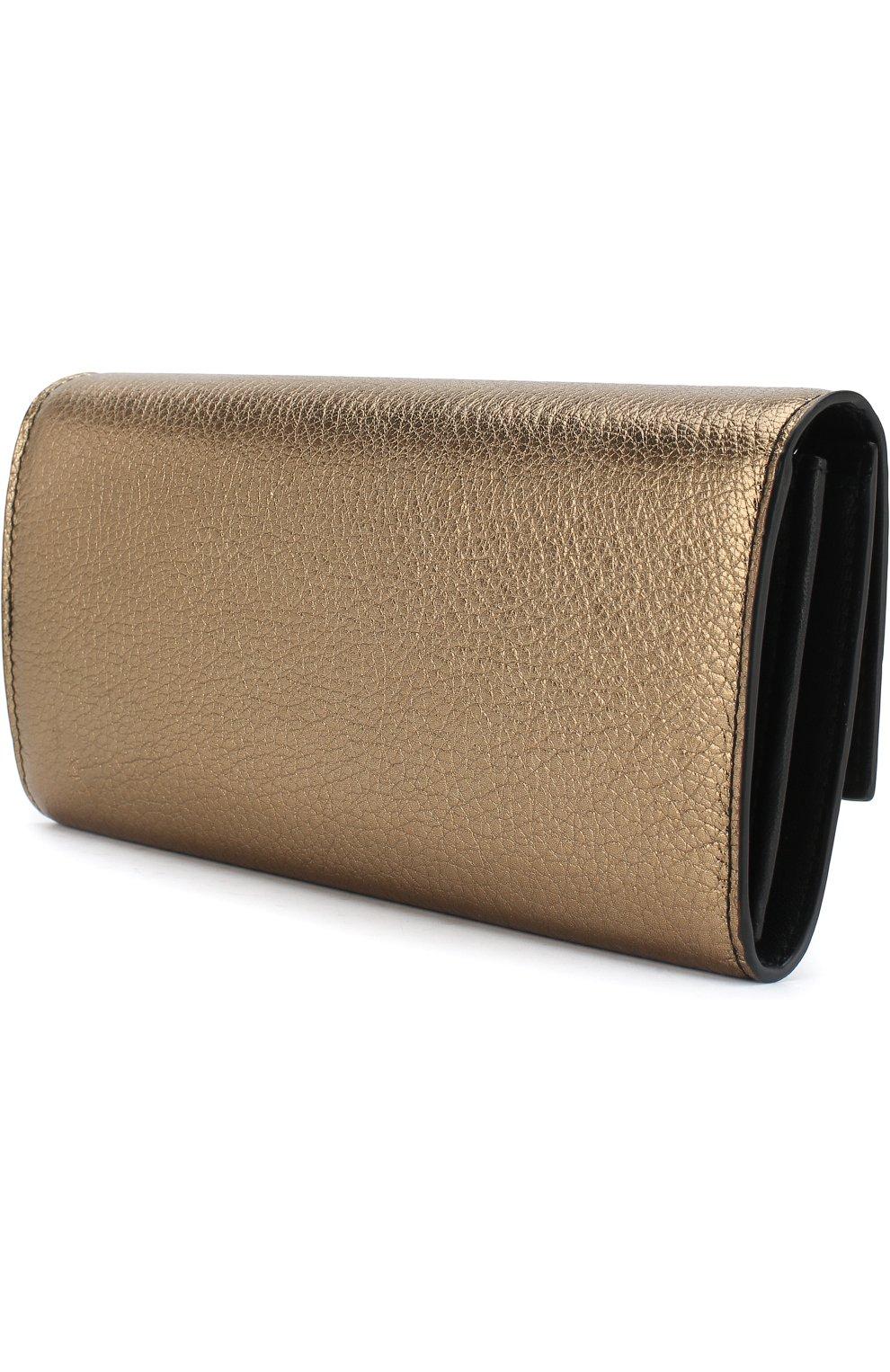 Кожаное портмоне на цепочке Alexander McQueen золотого цвета | Фото №3