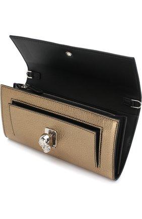 Кожаное портмоне на цепочке Alexander McQueen золотого цвета | Фото №4