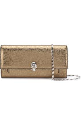 Кожаное портмоне на цепочке Alexander McQueen золотого цвета | Фото №5