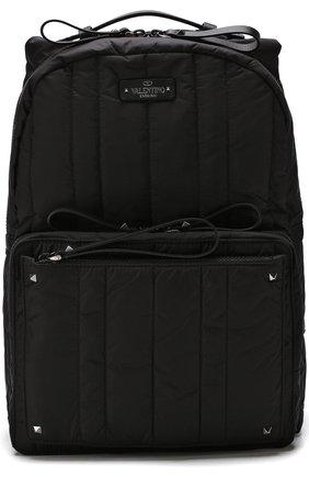 Текстильный рюкзак Valentino Garavani с внешним карманом на молнии   Фото №1