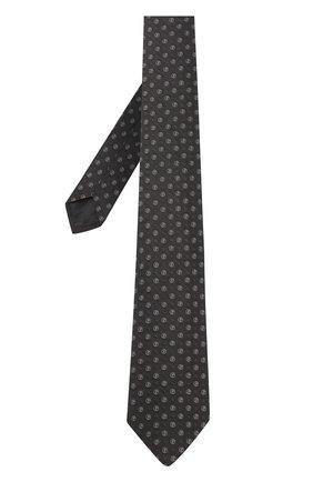 Мужской шелковый галстук с узором GIORGIO ARMANI черного цвета, арт. 360054/8A945   Фото 2