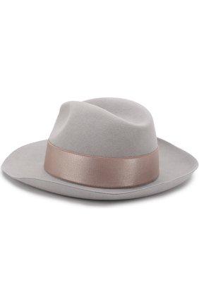Шерстяная шляпа с лентой Giorgio Armani серого цвета | Фото №1