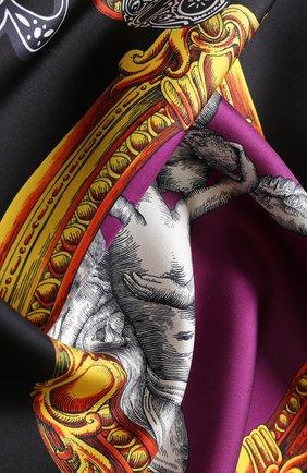 Шелковый платок с принтом Versace черный | Фото №1