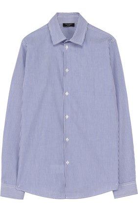 Хлопковая рубашка в мелкую полоску | Фото №1