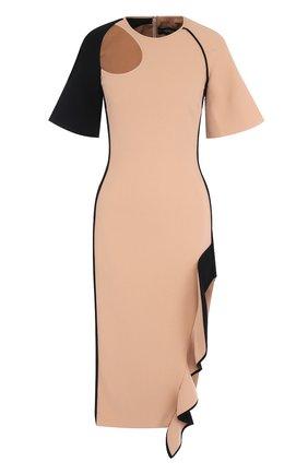 Приталенное платье с контрастной оборкой и высоким разрезом   Фото №1