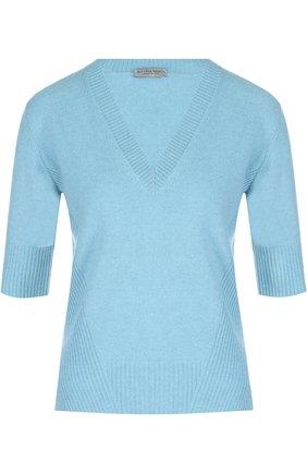 Кашемировый пуловер с V-образным вырезом и укороченным рукавом | Фото №1