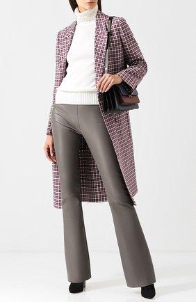Кожаные расклешенные брюки DROMe серые | Фото №1