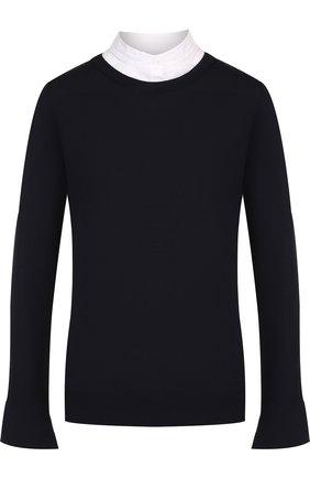 Шерстяной пуловер с контрастными вставками и воротником-стойкой Windsor темно-синий | Фото №1