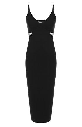 Однотонное платье-миди со шнуровкой на бретельках T by Alexander Wang черное | Фото №1