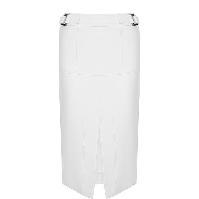 Однотонная шерстяная юбка с разрезом Tom Ford