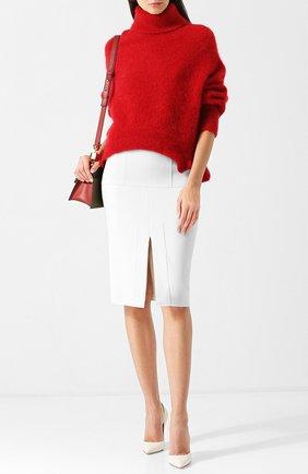 Однотонная шерстяная юбка с разрезом | Фото №2