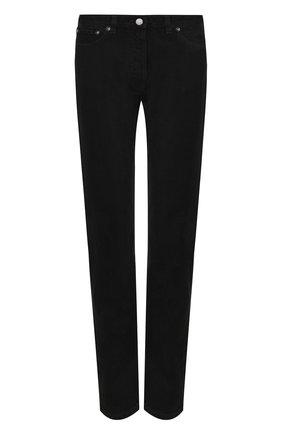 Женские однотонные джинсы прямого кроя VALENTINO черного цвета, арт. QB3DD07F45J   Фото 1