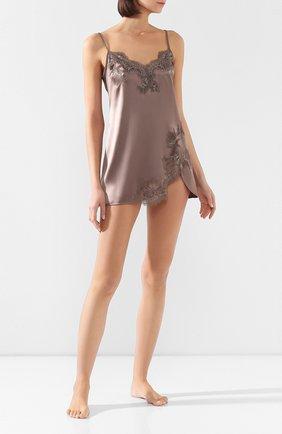 Женская шелковая сорочка COTTON CLUB коричневого цвета, арт. 3VB | Фото 2
