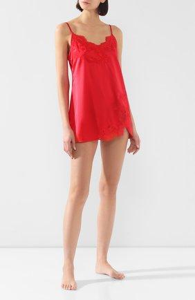 Женская шелковая сорочка COTTON CLUB красного цвета, арт. 3VB | Фото 2 (Материал внешний: Шелк; Длина Ж (юбки, платья, шорты): Мини; Рукава: Короткие)