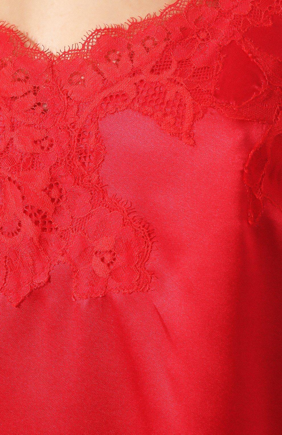 Женская шелковая сорочка COTTON CLUB красного цвета, арт. 3VB | Фото 5 (Материал внешний: Шелк; Длина Ж (юбки, платья, шорты): Мини; Рукава: Короткие)