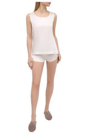 Женские шелковые шорты COTTON CLUB кремвого цвета, арт. 6ZM | Фото 2