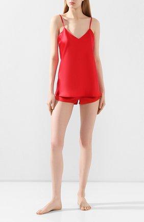 Однотонные шелковые мини-шорты Cotton Club красные | Фото №1