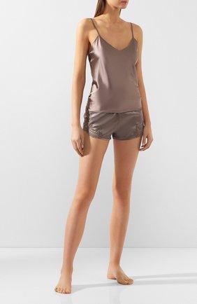 Шелковые мини-шорты с кружевной отделкой Cotton Club коричневые   Фото №1