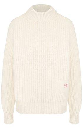 Шерстяной пуловер с воротником-стойкой Victoria Beckham кремовый | Фото №1