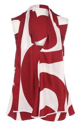 Шелковый топ с принтом Victoria Beckham бордовый | Фото №1