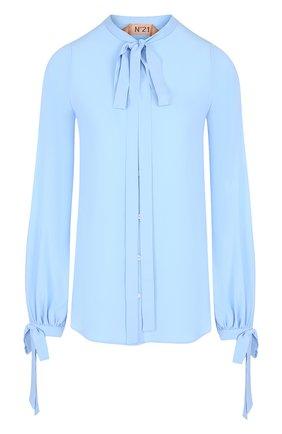 Однотонная блуза с воротником аскот | Фото №1