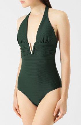 Слитный купальник с металлической вставкой Heidi Klein зеленый | Фото №1