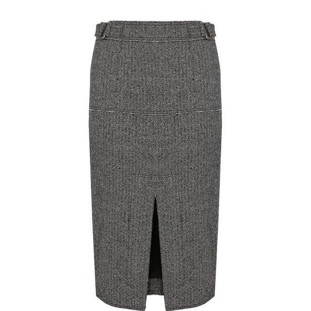 Юбка из смеси шерсти и шелка с разрезом Tom Ford