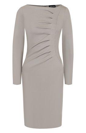 Однотонное приталенное мини-платье Giorgio Armani светло-серое | Фото №1