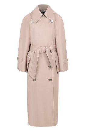 Однотонное двубортное пальто с поясом   Фото №1