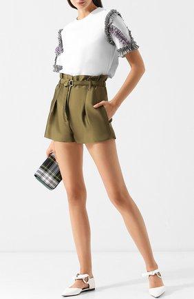 Мини-шорты с поясом и защипами 3.1 Phillip Lim хаки | Фото №1