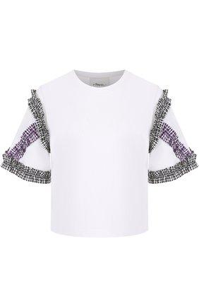 Хлопковая футболка с круглым вырезом и контрастной отделкой 3.1 Phillip Lim белая | Фото №1
