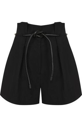 Шерстяные мини-шорты с поясом 3.1 Phillip Lim черные | Фото №1
