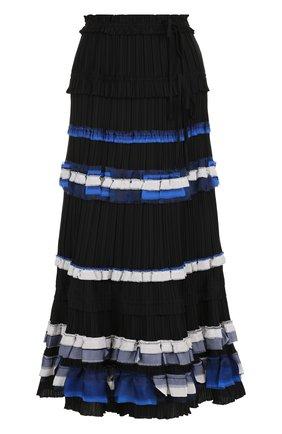 Плиссированная юбка-миди с контрастной отделкой 3.1 Phillip Lim черная | Фото №1