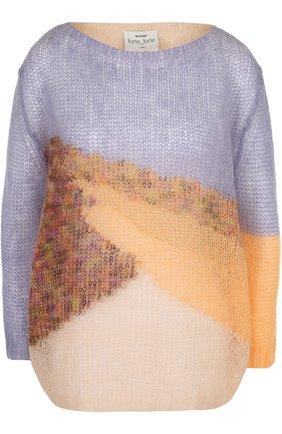 Вязаный пуловер с укороченным рукавом Forte_forte разноцветный   Фото №1