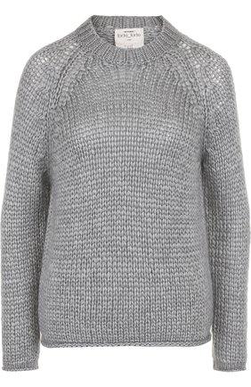 Однотонный вязаный пуловер из смеси шелка и кашемира Forte_forte серый   Фото №1