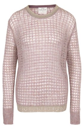 Вязаный пуловер с круглым вырезом Forte_forte лиловый   Фото №1