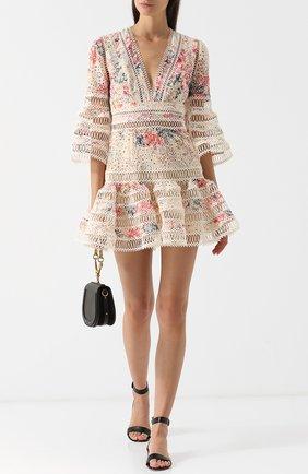 Хлопковое мини-платье с V-образным вырезом и принтом Zimmermann разноцветное | Фото №1