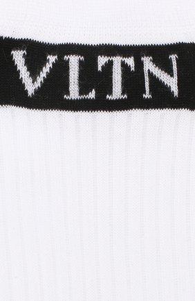 Женские хлопковые носки с логотипом бренда VALENTINO черно-белого цвета, арт. QB3KI02B49K | Фото 2