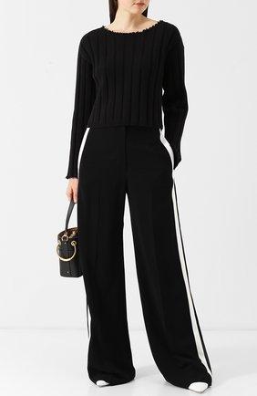 Укороченный пуловер из хлопка T by Alexander Wang черный | Фото №1