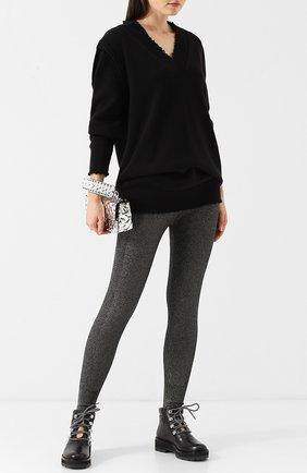 Удлиненный пуловер с V-образным вырезом из хлопка T by Alexander Wang черный | Фото №1