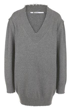 Удлиненный пуловер с V-образным вырезом из хлопка T by Alexander Wang серый | Фото №1