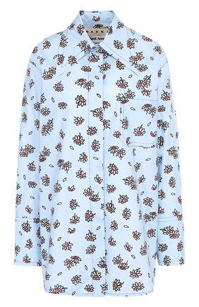Хлопковая блуза с накладным карманом и принтом | Фото №1