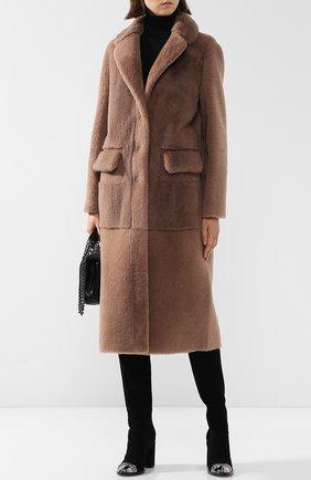 Меховое пальто с накладными карманами Blancha бежевая | Фото №1