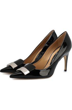 Лаковые туфли с декором на шпильке Sergio Rossi черные | Фото №1