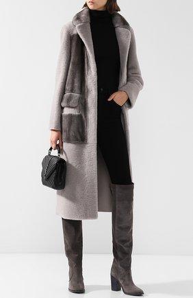 Кожаные ботфорты Sacha на устойчивом каблуке Laurence Dacade темно-серые | Фото №1