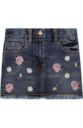 Джинсовая мини-юбка с вышивкой и оборкой | Фото №1