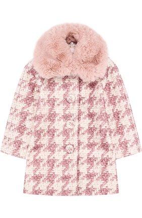 Буклированное пальто прямого кроя с фактурной отделкой | Фото №1