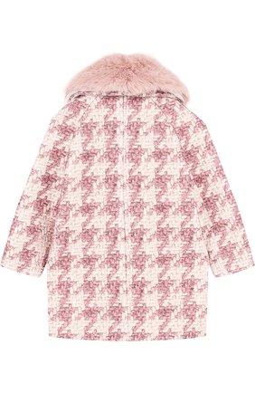 Буклированное пальто прямого кроя с фактурной отделкой Monnalisa розового цвета | Фото №1