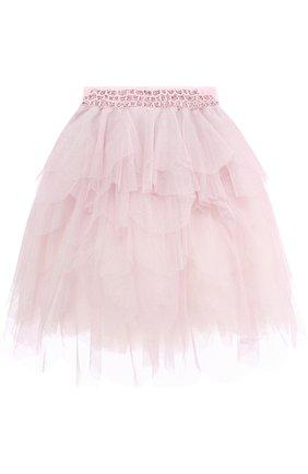 Многослойная юбка со стразами на поясе | Фото №1