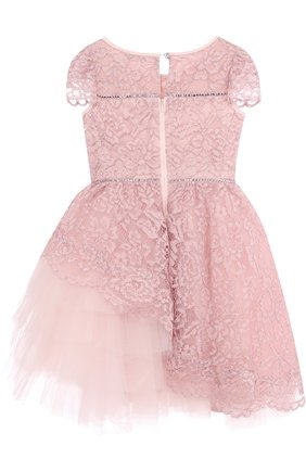 Детское платье с кружевной отделкой и ассиметричным подолом Monnalisa розового цвета | Фото №1